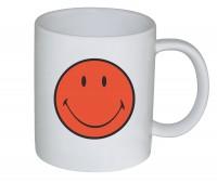 6x Smiley Henkelbecher, coral/weiss 35 cl