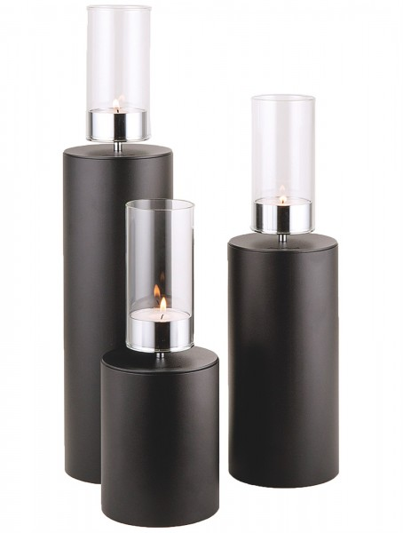Kerzenhalter iNORAMA 112-81, Ø12cm H:81cm schwarz,o.Glaszyl.