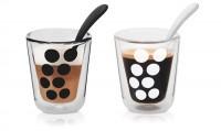 Dot Dot 2 Kaffeeglas doppelw.+ 2 Löffel schwarz/weiss