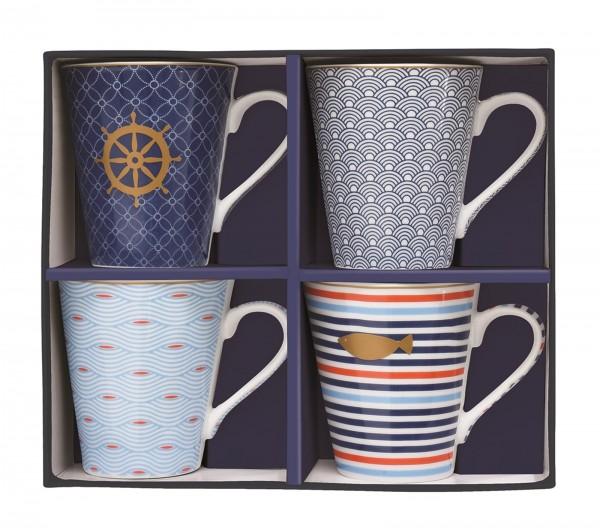 "Coffee Mania 4er Set Kaffebecher in GB,""Meer"",300ml"