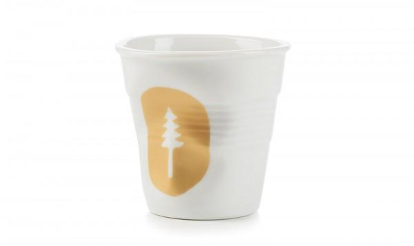 6x Cappuccino Knitterbecher 18 cl, Tannenbaum weiss/gold