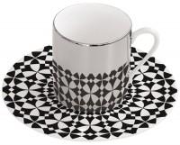 Magic Cup Espressotasse m. Untere in GB, schw./weiss 120 ml