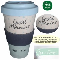 NEU Bamboo to go Trinkbecher Good Morning