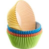 80 Muffin Papier-Backförmchen, farbig, 4-farbig sortiert