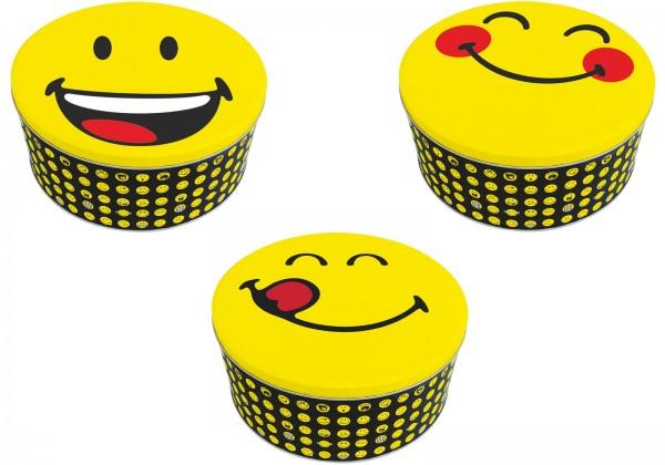 Smiley Blechdosen 3er Set, assortiert Ø19.7/16.7/13.5 cm