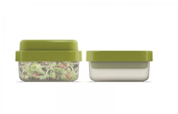 GoEat Compact 2-in-1 Salat Box, grün, 15x15x7/9.5 cm