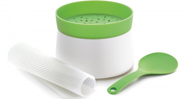 6x Kit Sushi, grün/weiss (Reiskocher, Makisu, Schöpfer), Ø13cm