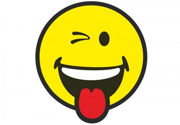 Smiley Sticker, Emoticon Zwinkern Ø30 cm