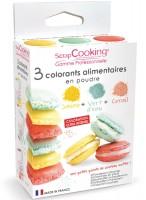Farbpulver - Set gelb, pastellgrün, korall 3x5g