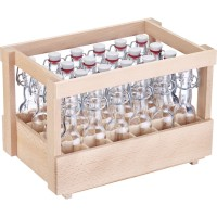 24 Mini-Bügelverschlussflasche rund, 40 ml, im Holzdisplay
