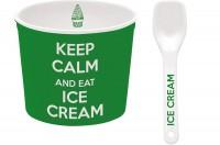 Keep Calm Porzellan Eisbecher, grün, Ø 8.5 cm