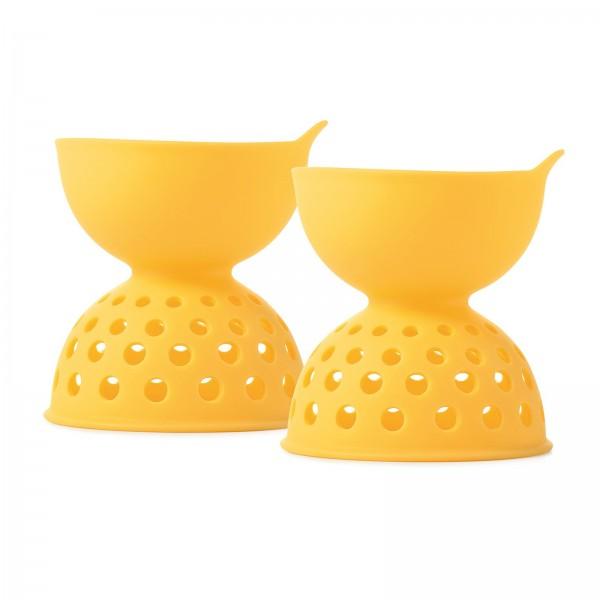 2er Set Eier-Pochierer, Silikon, gelb