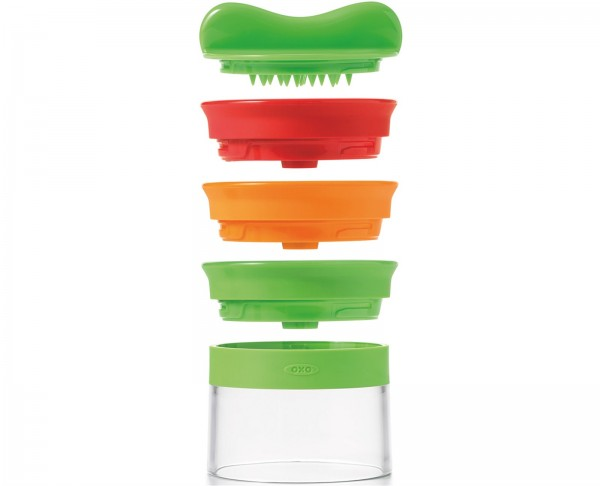 Hand-Spiralizer Gemüseschneider m. 3 Klingen, gr./rot/orange