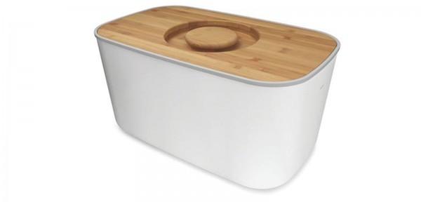 Brotbox Stahl/weiss, 35.7x17.7x21.4 cm