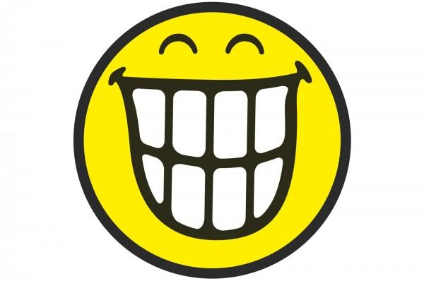 Smiley Sticker, Emoticon breites Grinsen Ø30 cm