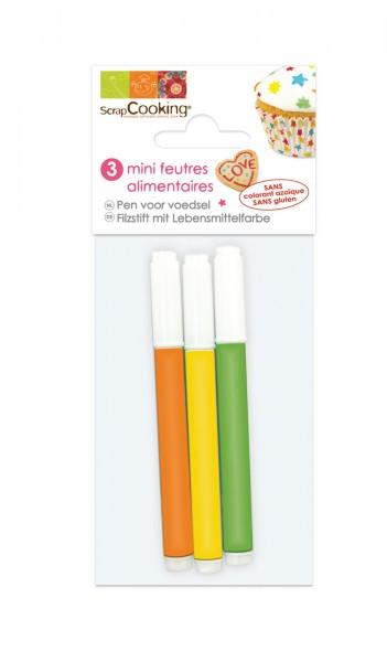 Mini Lebensmittelstifte orange, gelb, grün