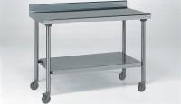 Tisch 800x1800mm, mit Aufkantung und Boden, auf Räder