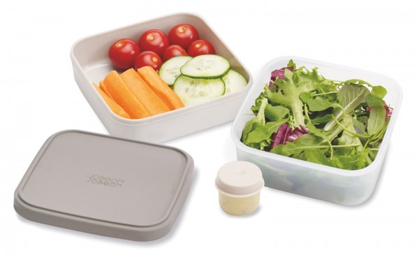 GoEat Compact 2-in-1 Salat Box, grau, 15x15x7 cm