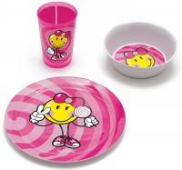 Smiley Kid Girl 3er Geschenkset pink,Teller,Schüssel+Becher