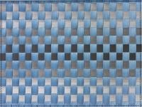 PP-Tischset gewebt, eckig, graublau gestreift, 30x40 cm