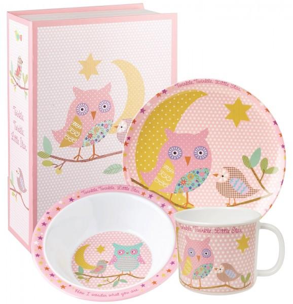 Twinkle Twinkle Kindergeschirr rosa 3tlg. Melamin
