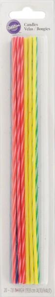 Kerzen Party dünn, 20 cm, 20 Stk. (rot/blau(gelb/grün)