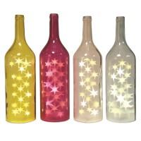 1x Glasflasche MAGNUM weiss mit LED-Sternenlicht