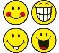 Smiley Untersetzer 4er-Set Glas, Emoticon assortiert