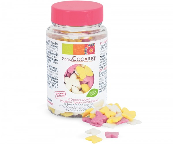 Dekozucker Schmetterlinge weiss/rosa/gelb 50 g