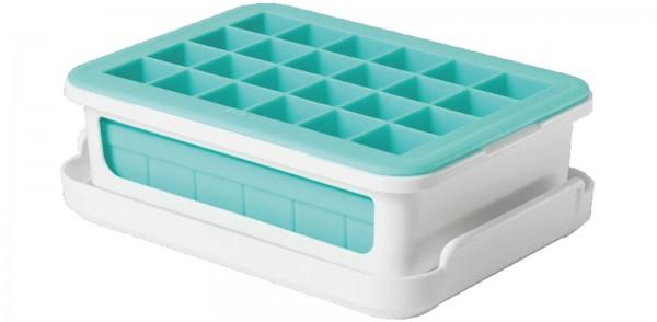 Eiswürfelbehälter 2-tlg. m. Rahmen, h.blau, 20x13x6cm
