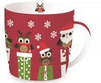 """Christmas Owls Porzellanbecher in GB """"Eulen"""", rot, 350 ml"""
