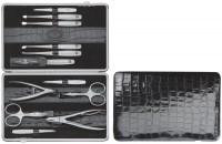 Rahmen-Etui, Kalbleder, Kroko, schwarz, 12-tlg.