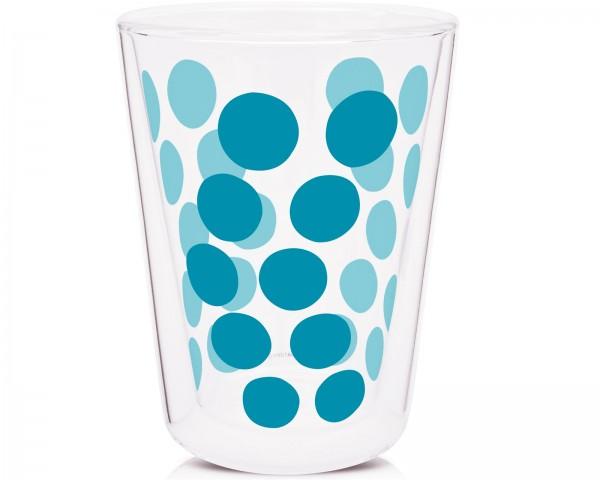 Dot Dot Teeglas aqua blau, doppelwandig 35 cl