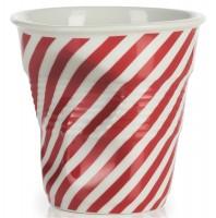 Cappuccino Knitterbecher 18 cl, rot/weiss diagonal gestreift