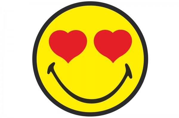 Smiley Sticker, Emoticon love Ø30 cm