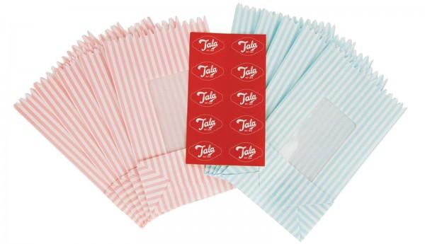10er Geschenkbeutel m. Fenster, rot+blau/weiss gestreift, kl