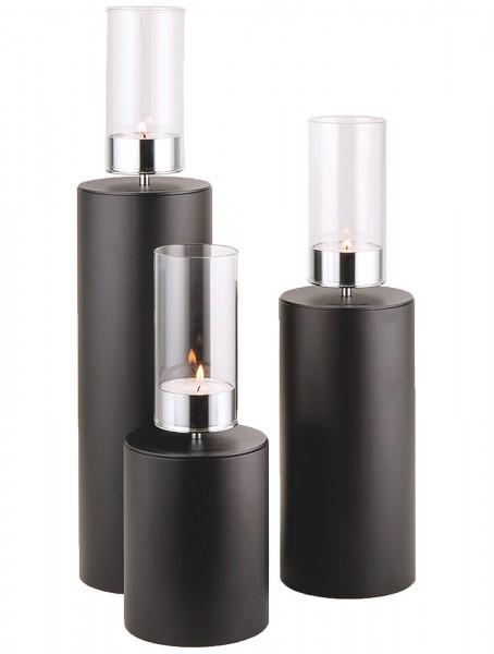 Kerzenhalter iNORAMA 112-21, Ø12cm H:21cm schwarz,o.Glaszyl.