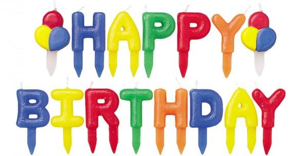 Kerzen Happy Birthday, assortiert, 8 cm, 13 Stk.