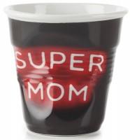 """Cappuccino Knitterbecher 18 cl, Neon """"Super Mom"""""""