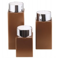 Kerzenhalter iNORAMA 104-12, 7x7x12cm braun, o. Glaszylinder