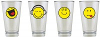 Smiley Glas Emoticon 4er Set, 30 cl in GK 33x13.5x7.5cm