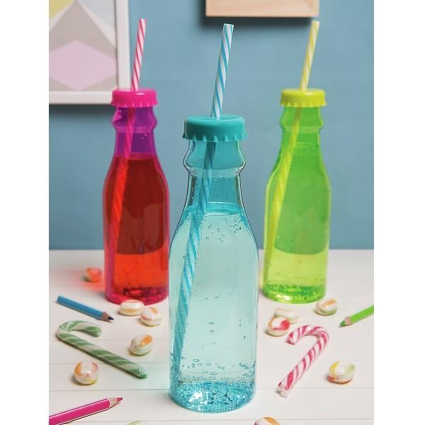 Soda Flasche m. Trinkhalm 70 cl, orange/weiss