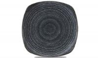 Homespun Teller flach quadratisch 25.5cm, Charcoal Black