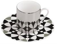 """Magic Cup Espressotasse m. Untere in GB, """"Geo"""" s/w, 120 ml"""