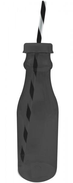 Soda Flasche m. Trinkhalm 70cl, schwarz/weiss