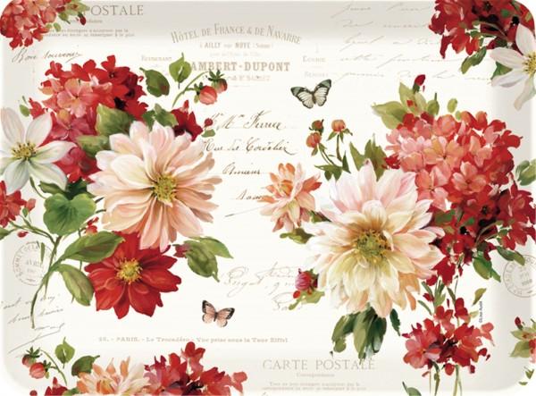 Season Flowers Tablett m. Griffen 33x22 cm