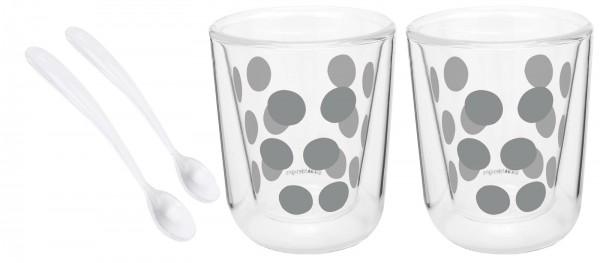 Dot Dot 2 Espressoglas silber doppelw. + 2 Löffel weiss