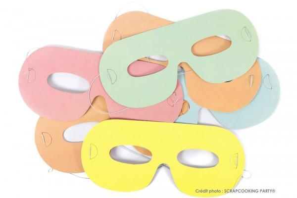 Partymasken multicolor pastel, 6 Stk.