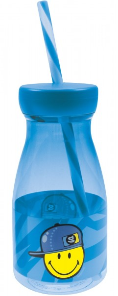 Smiley Kid Boy Flasche mit Strohhalm blau, 36cl