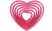 Plastik Ausstechform Herz, rot, 6er Set